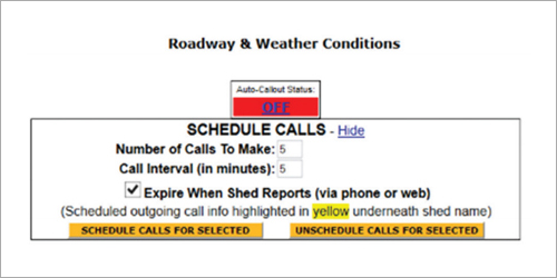 reports from road crews screen